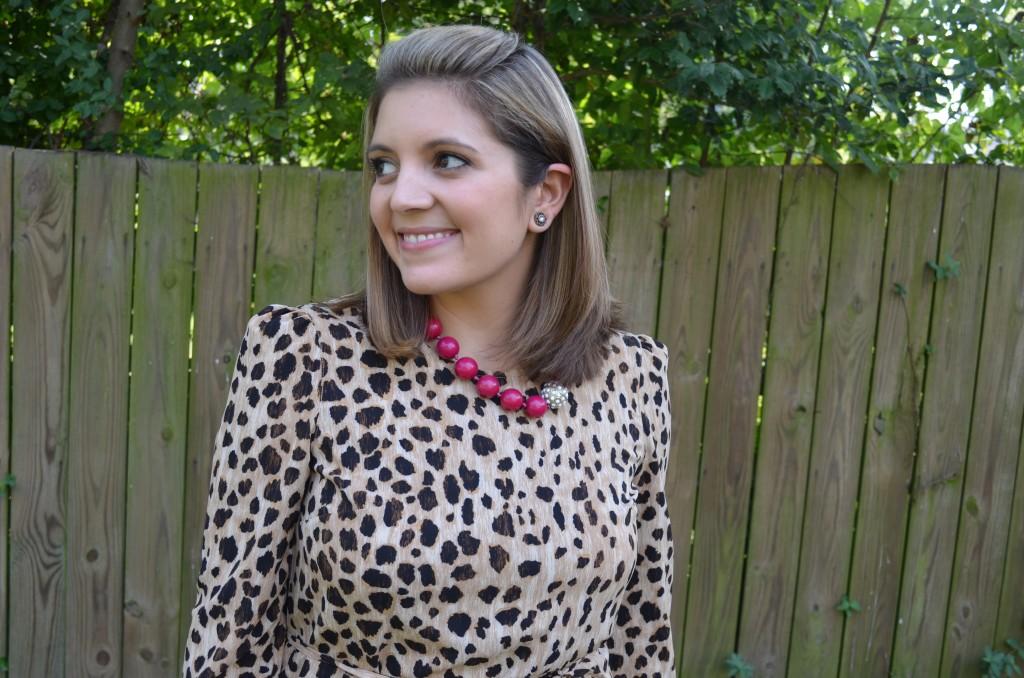 Leopard dress, pink statement necklace