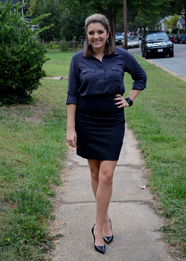 Old Navy gray and Express black pencil skirt