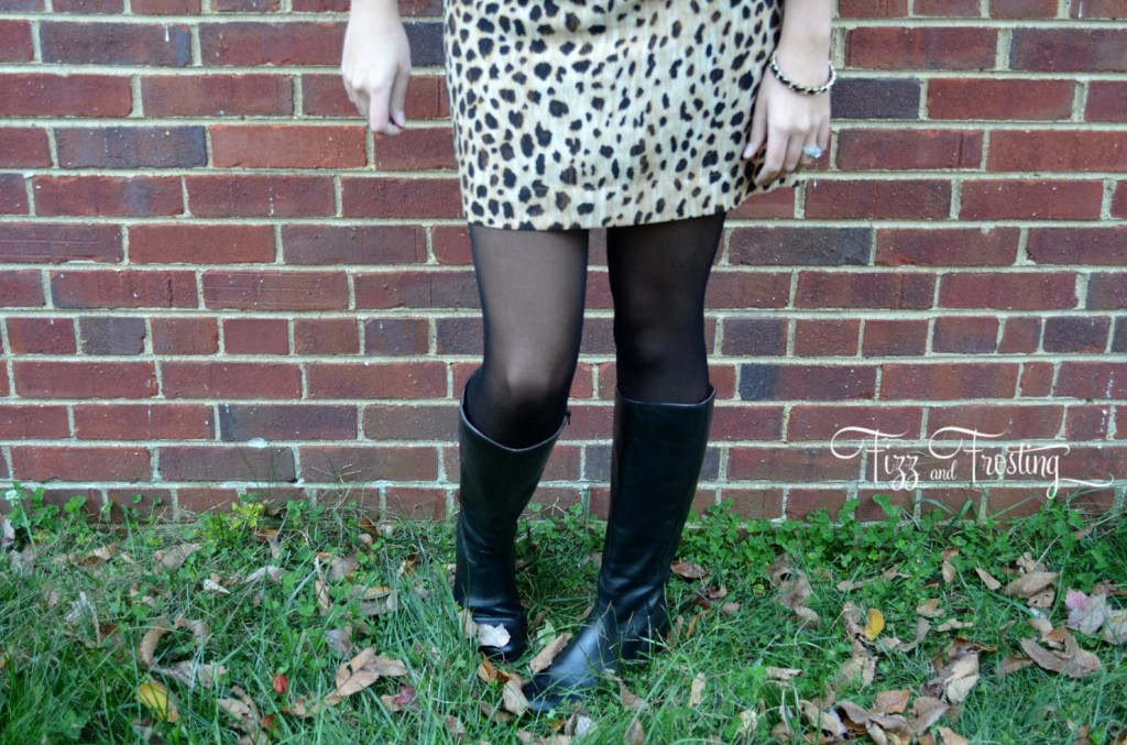 boots with tights and cheetah shift dress