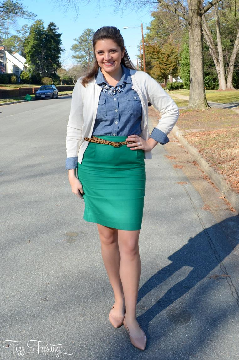 Chambray with pencil skirt and cream cardigan office