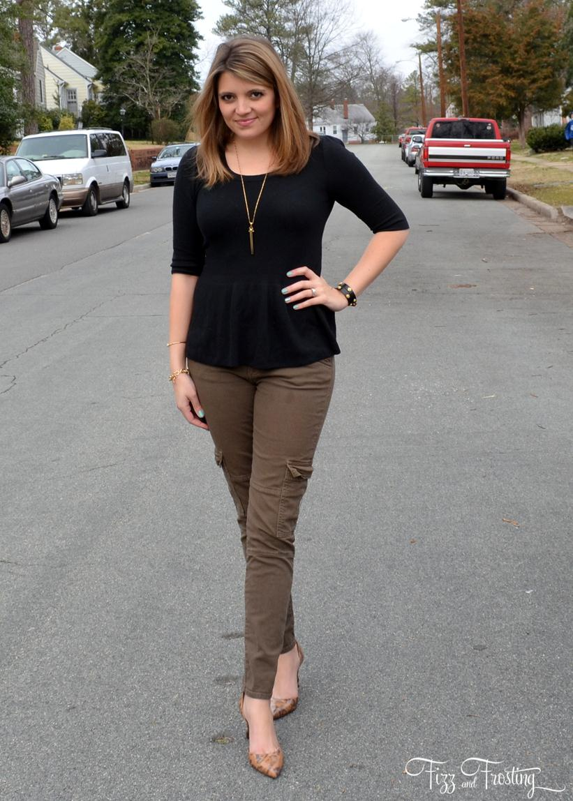 Hudson green cargo jeans with peplum