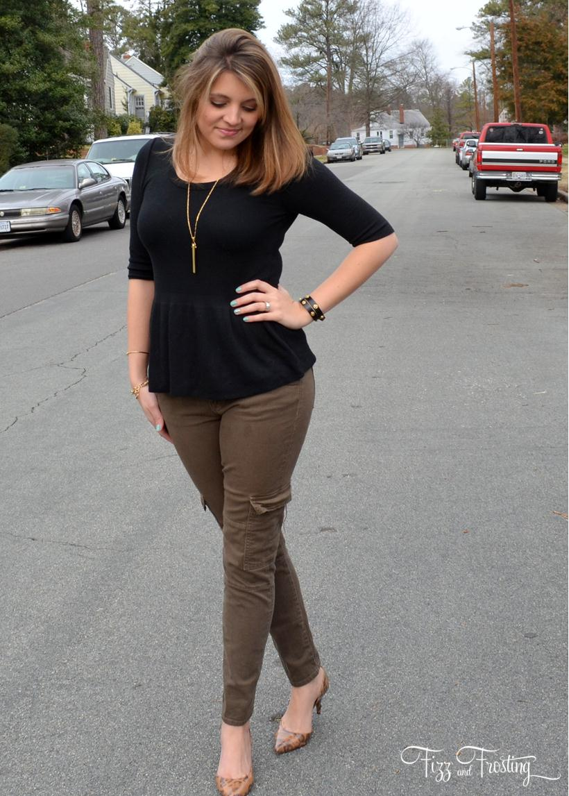 black peplum merona top with hudson skinnies