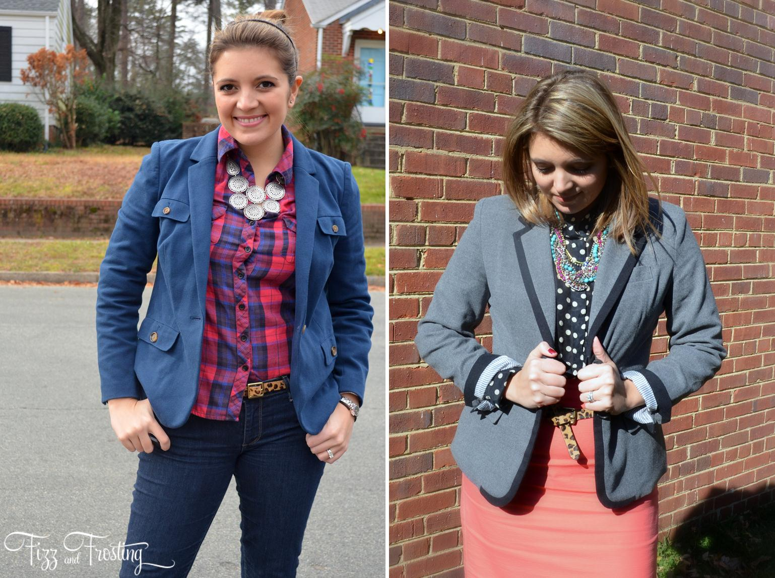 how to style button down with blazer