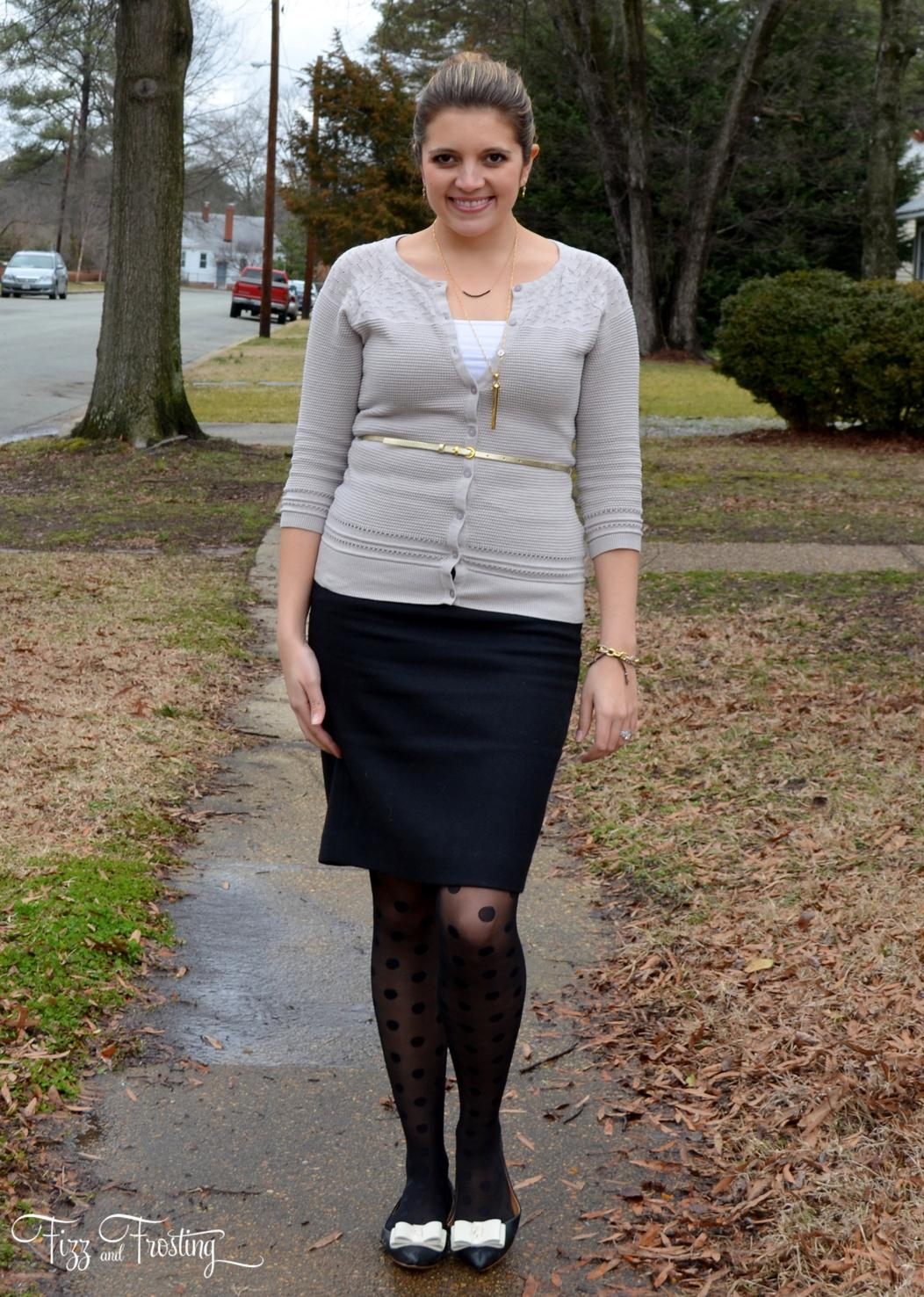 polka dot tights, pencil skirt j.crew