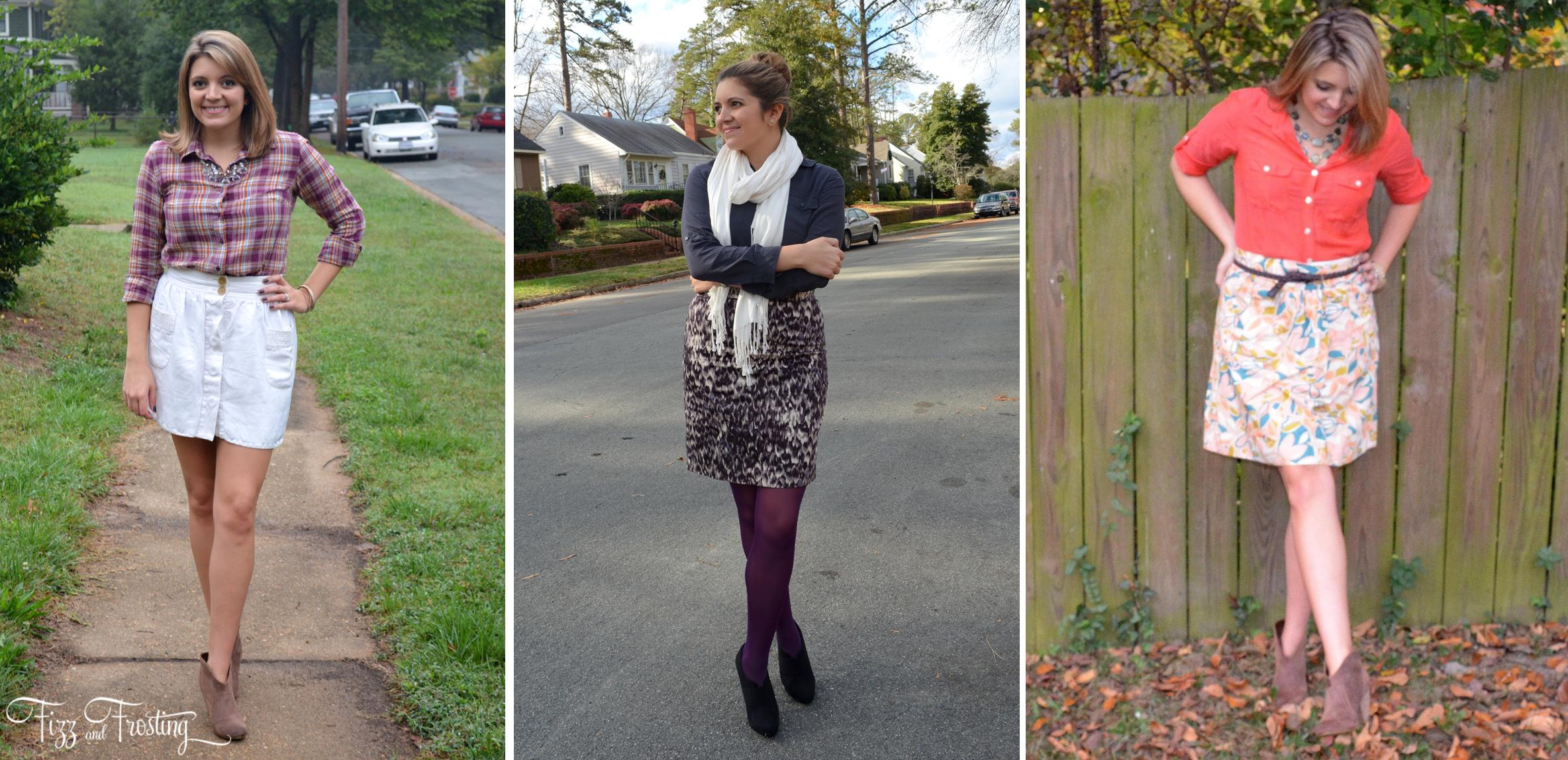 how to pair a button down and skirt