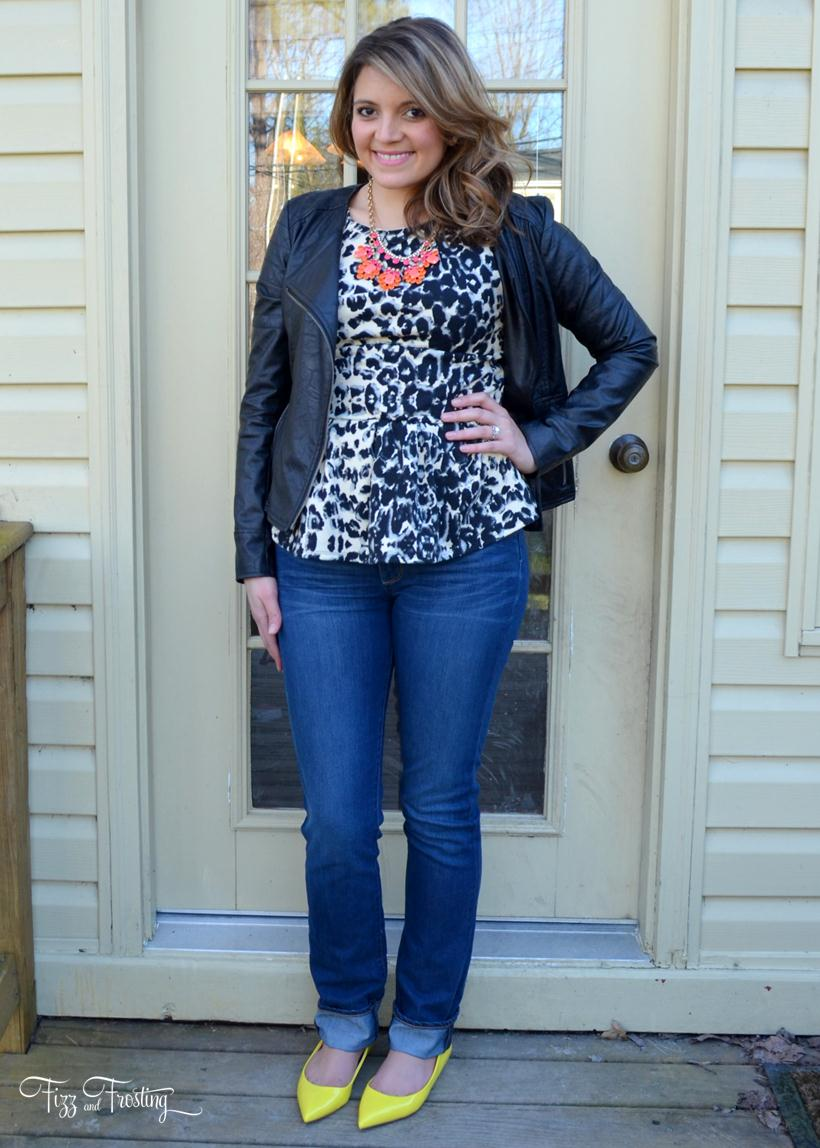 target peplum top with leather moto jacket