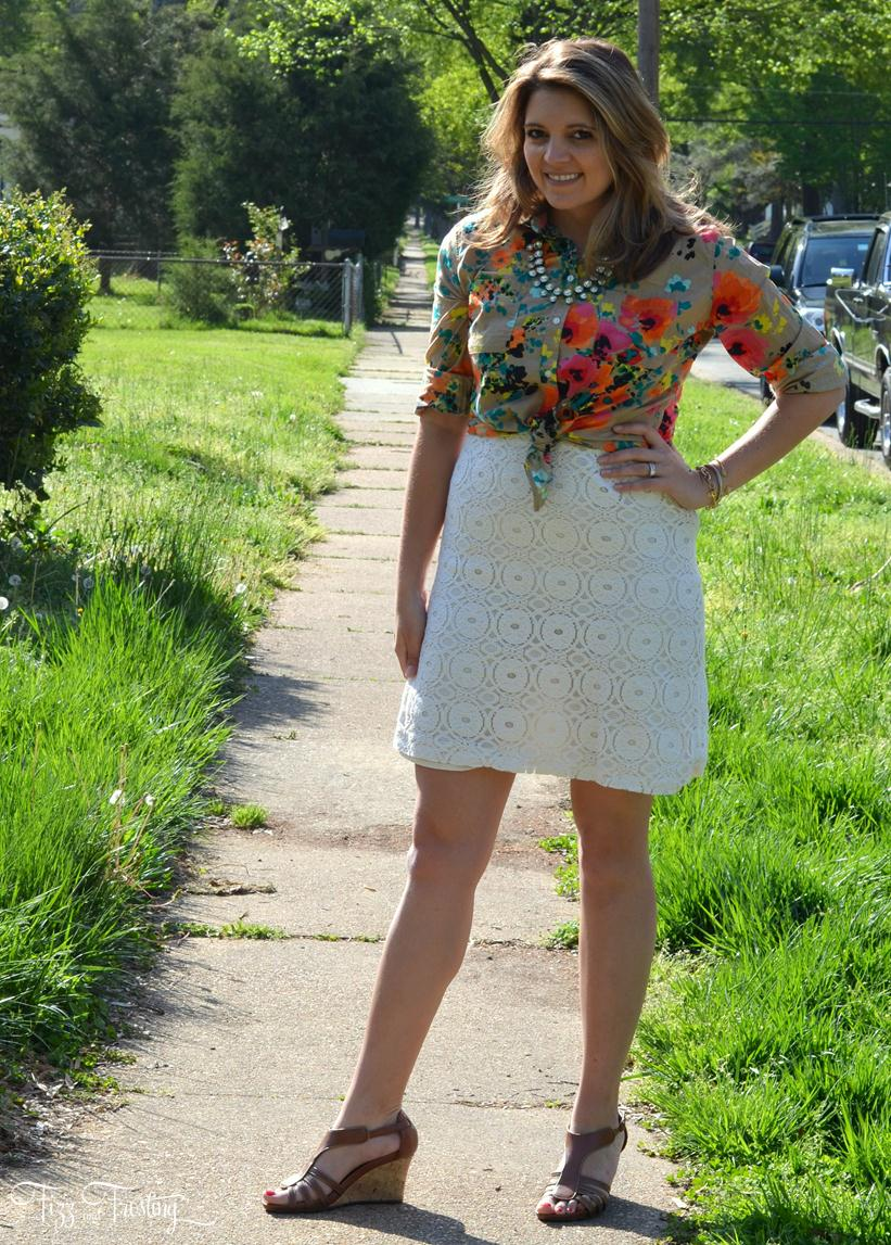 layer lace dress with floral top