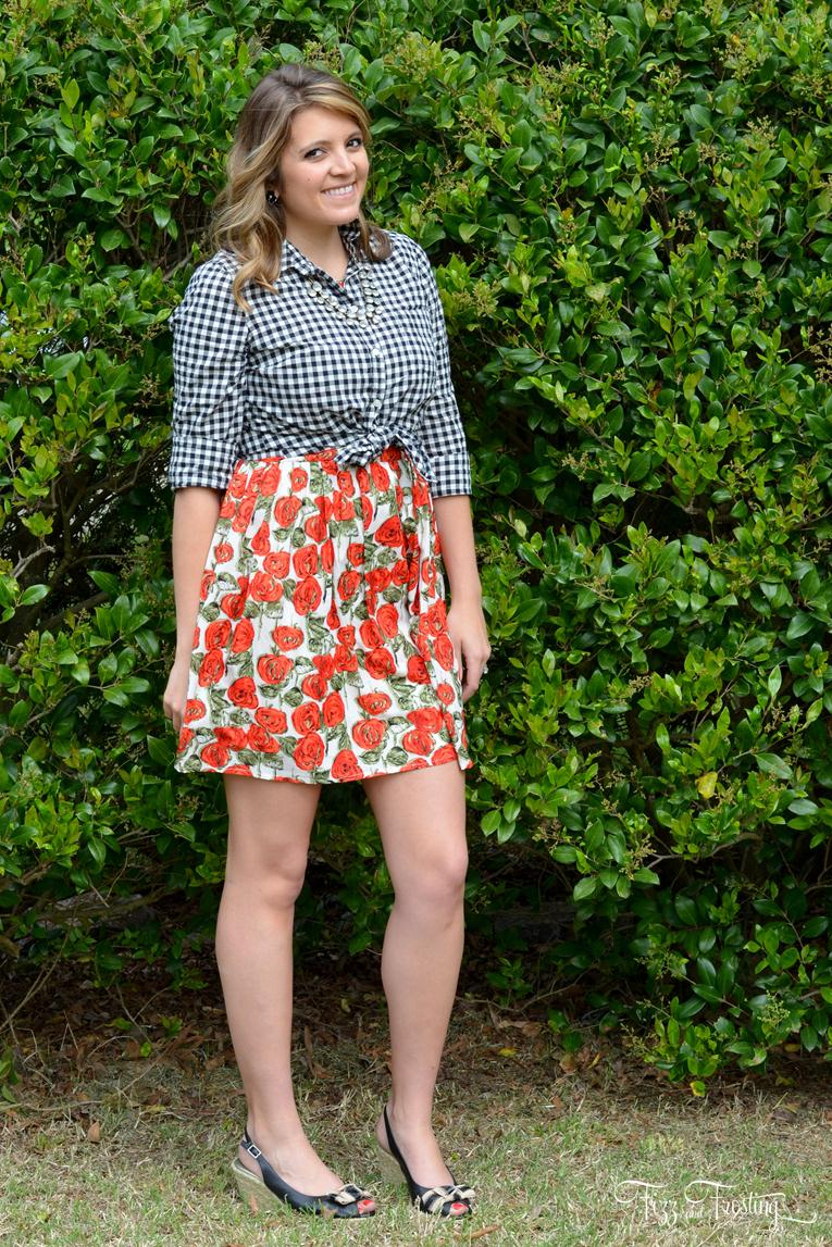mix floral print with another print