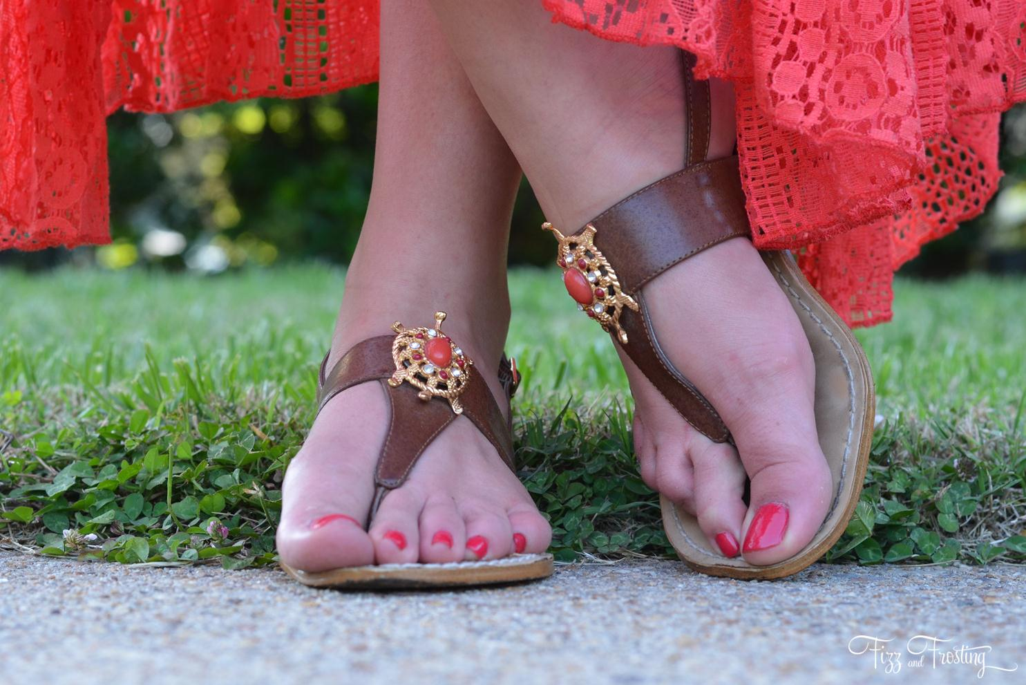 coral sandals beach wear