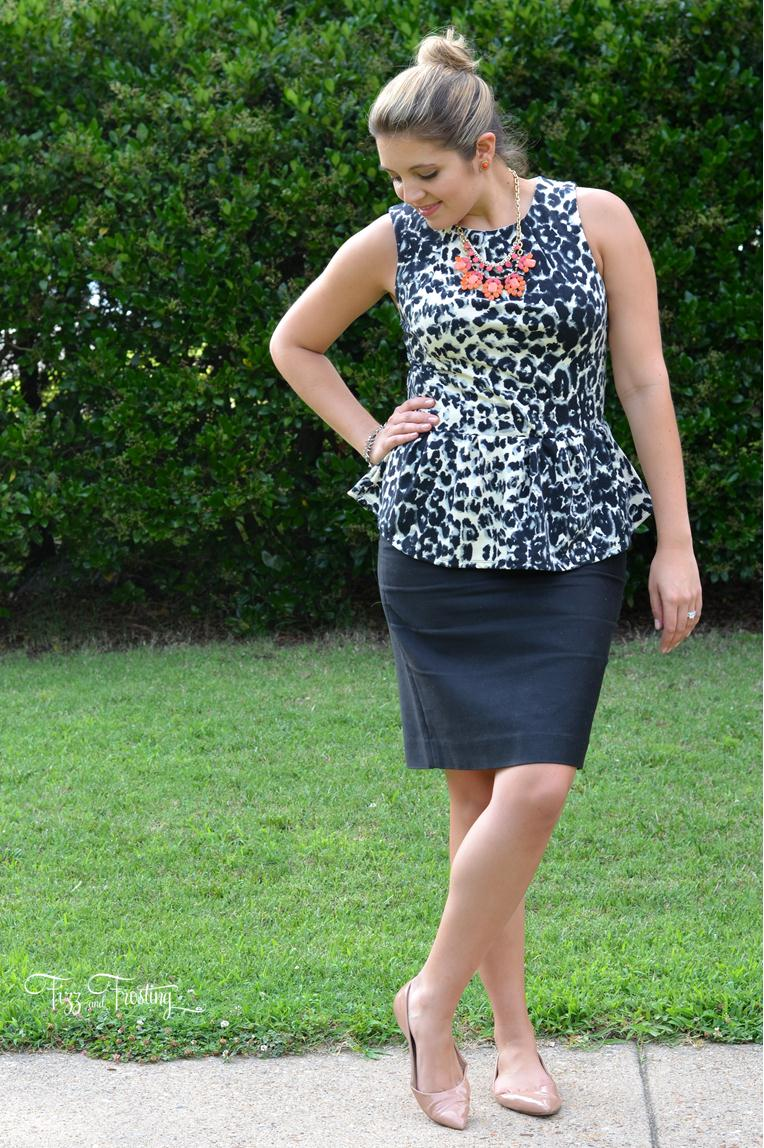 j.crew black pencil skirt with animal print top