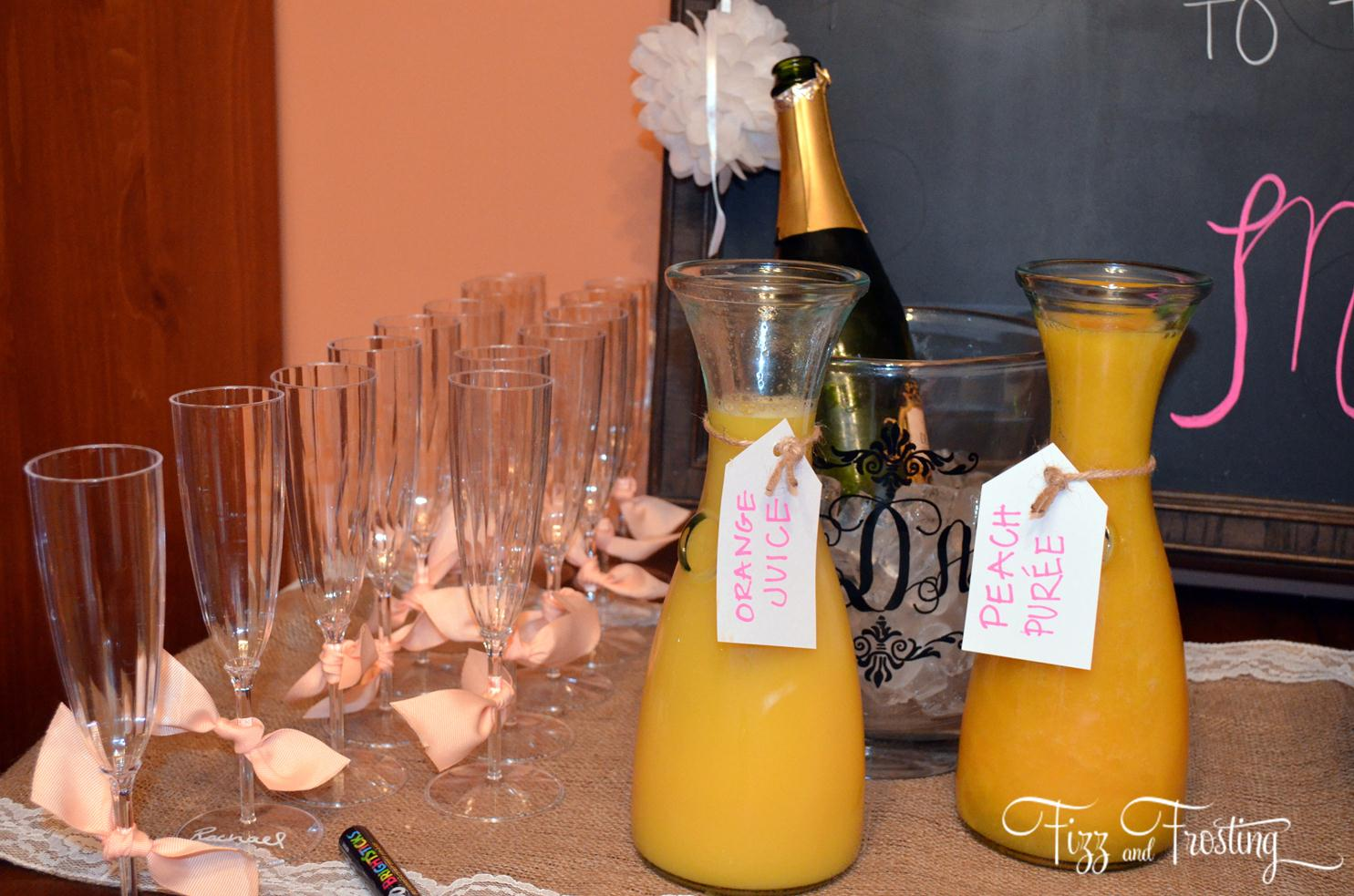 pink and orange bridal shower brunch