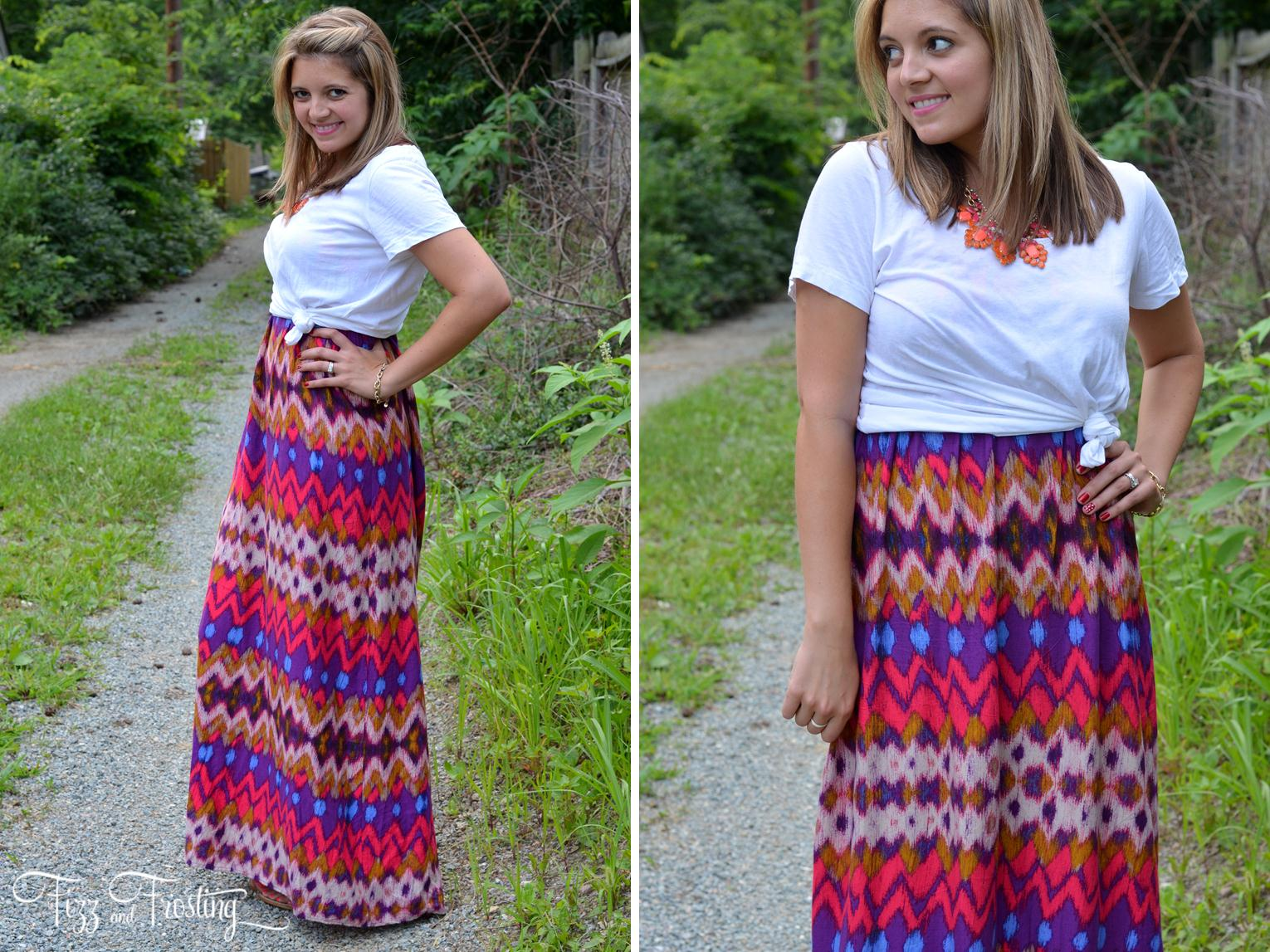 maxi dress with a knotted tee shirt