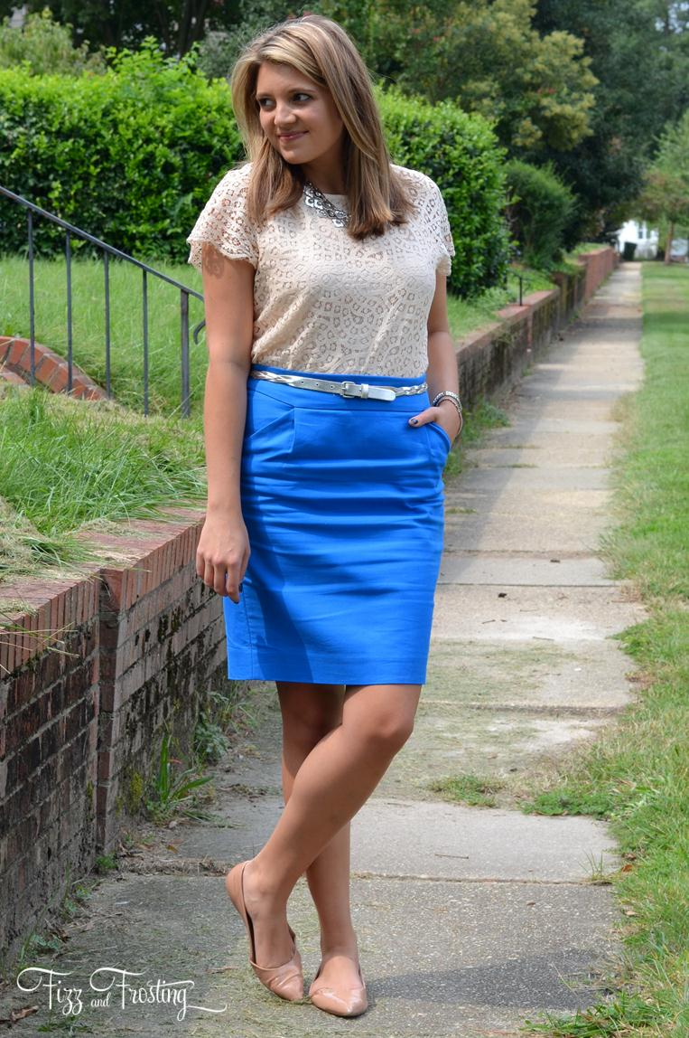 lace with pencil skirt
