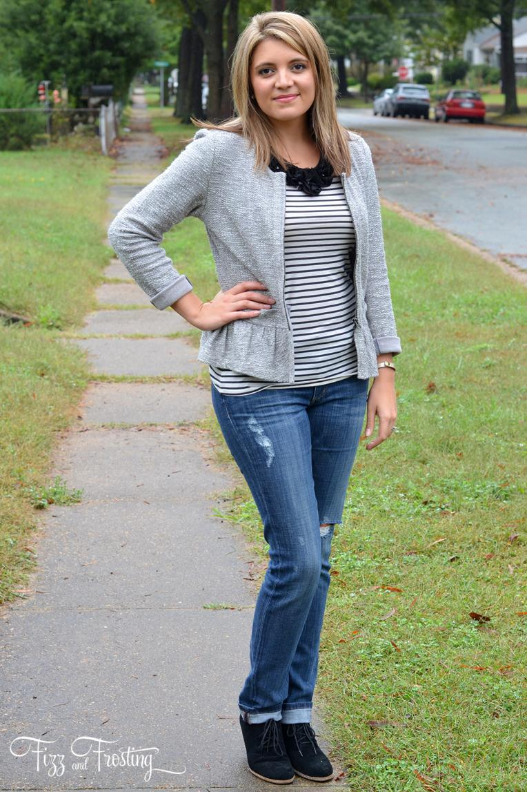 Peplum Jacket & Feminine Stripes | By Lauren M