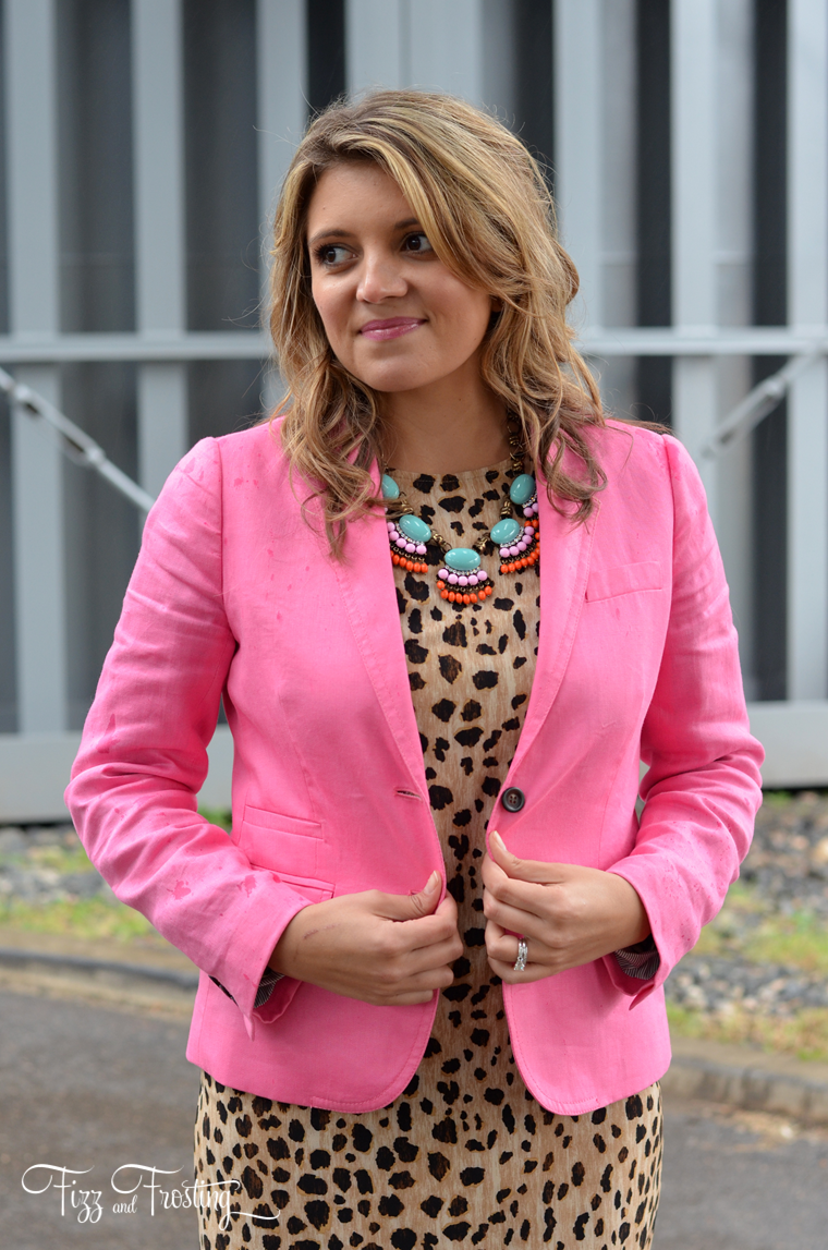 pink blazer with animal print