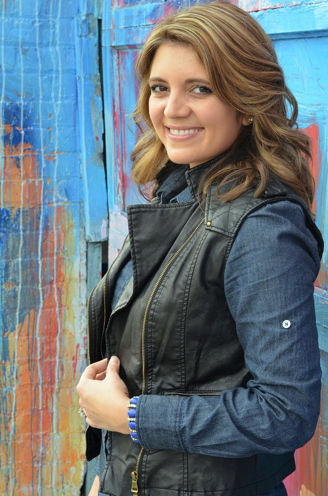 forever 21 leather vest. j.crew chambray