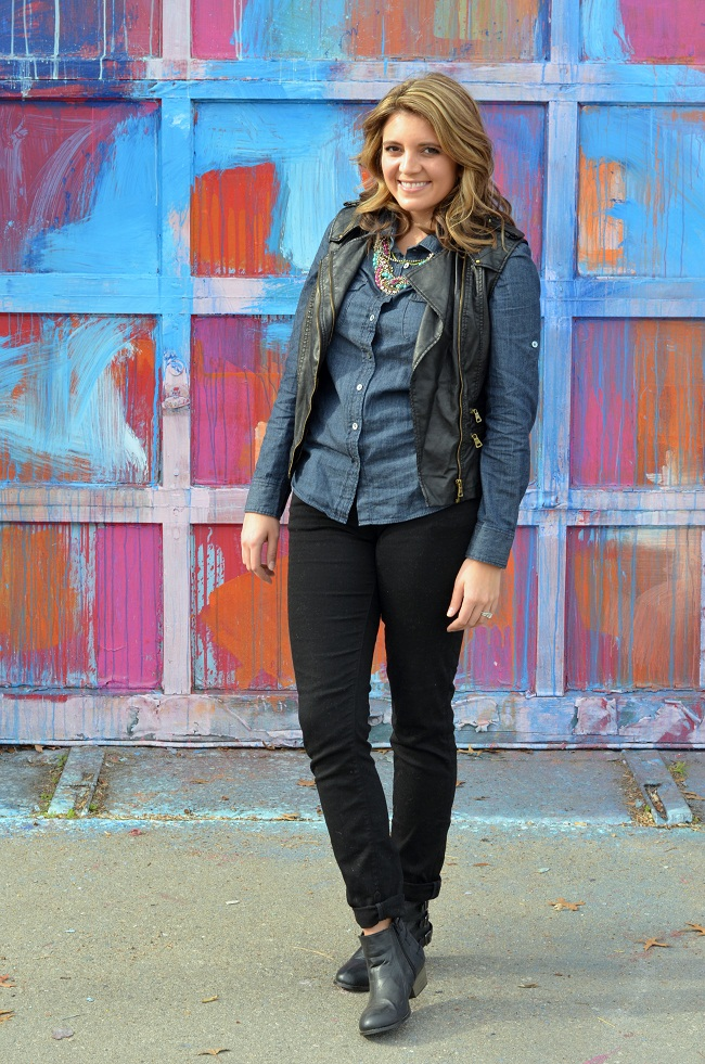 Fall faux leather vest