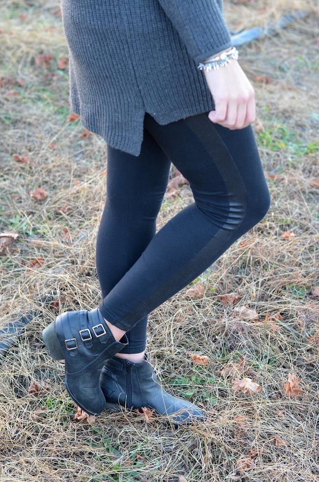 leather trim leggings