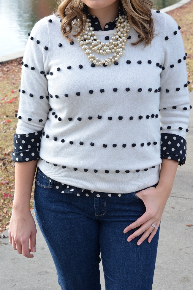 how to layer two polka dot prints