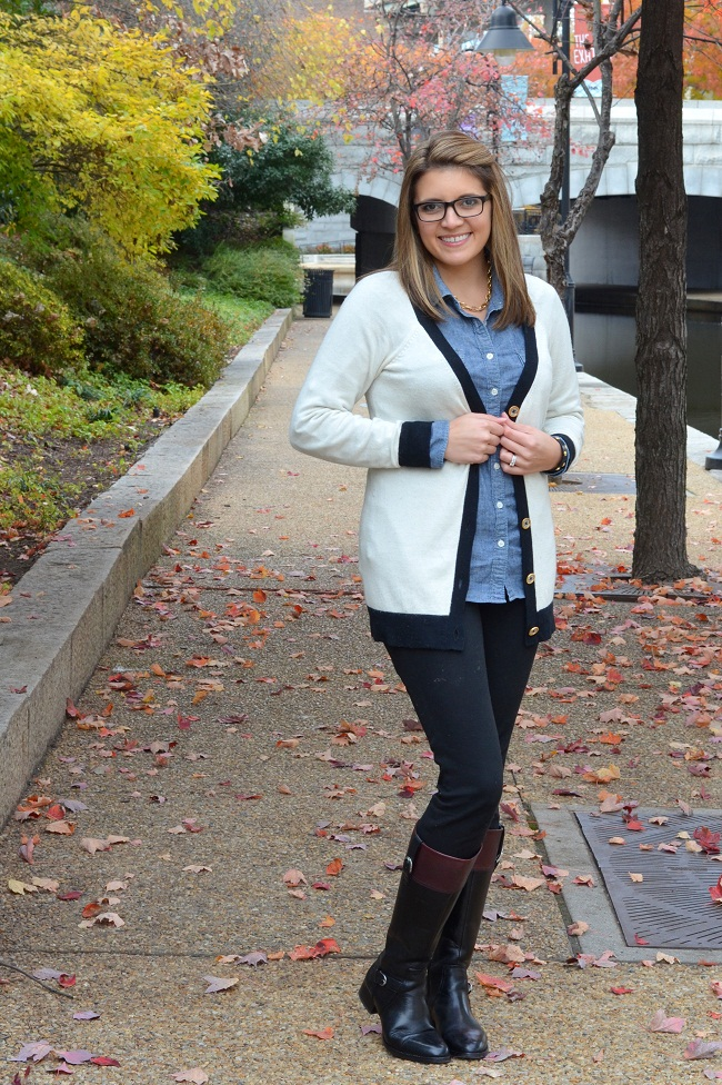 over-sized cardigan with knit pants and knee high boots