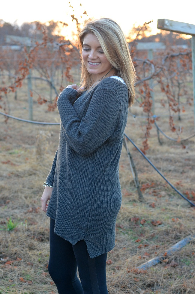 how to wear leggings with sweater