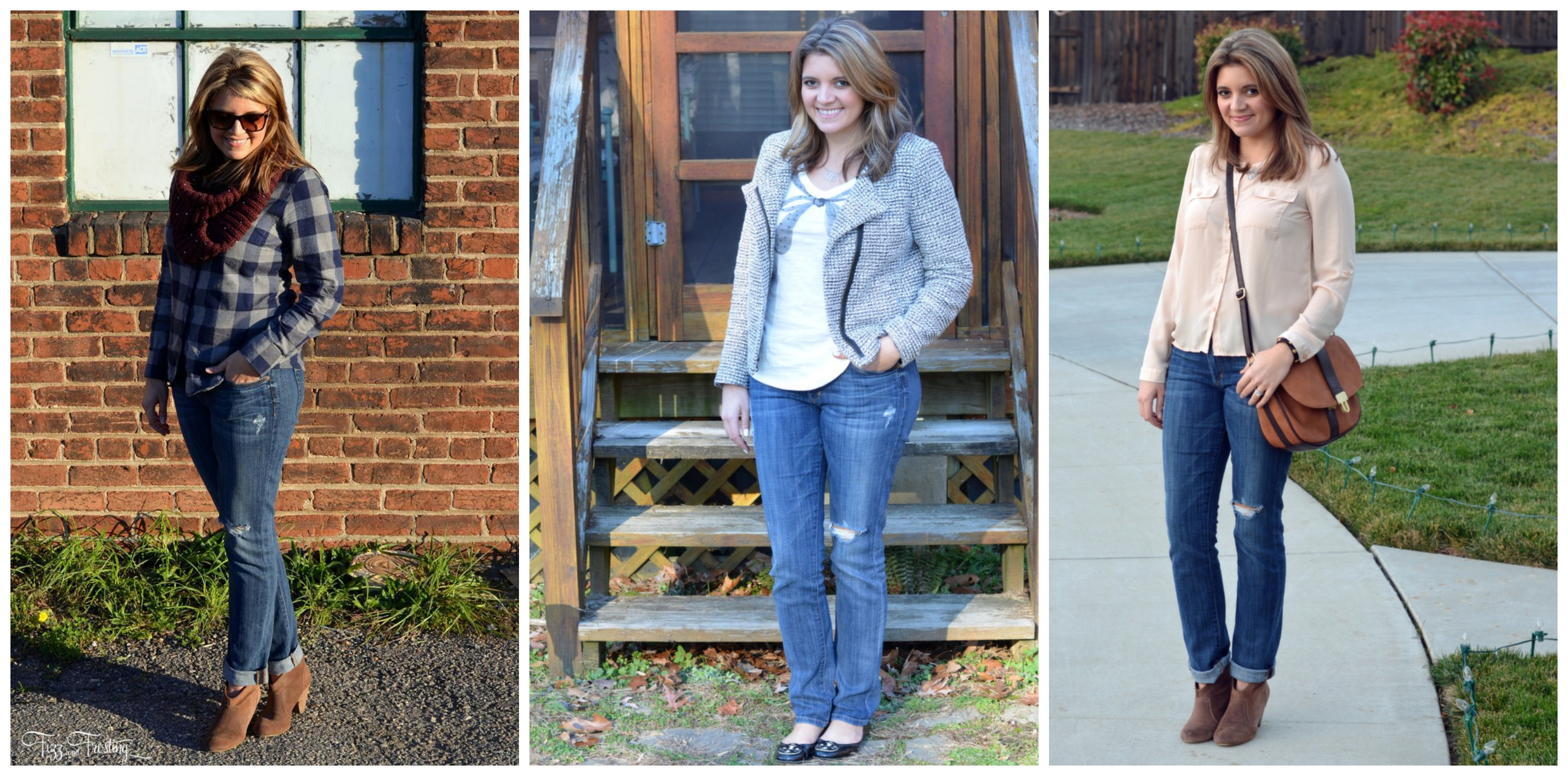 Three ways to wear distressed straight leg jeans