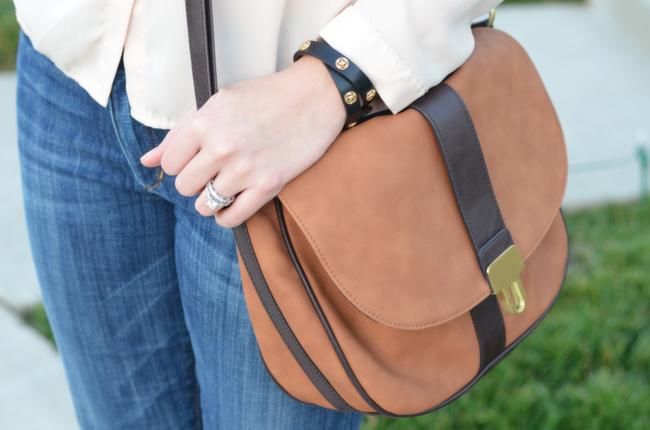 target two tone brown crossbody purse