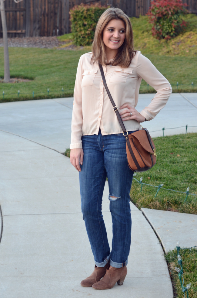how wear taupe booties with jeans