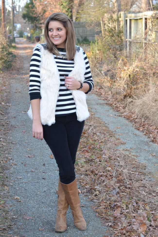 fur vest with striped tee