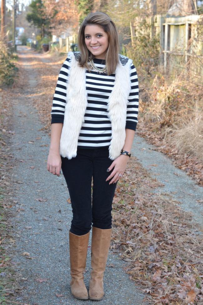 how wear fur vest winter fall