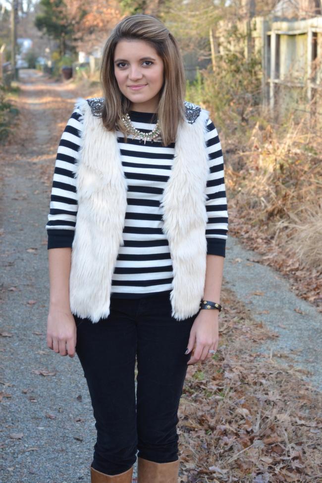 embellished fur vest