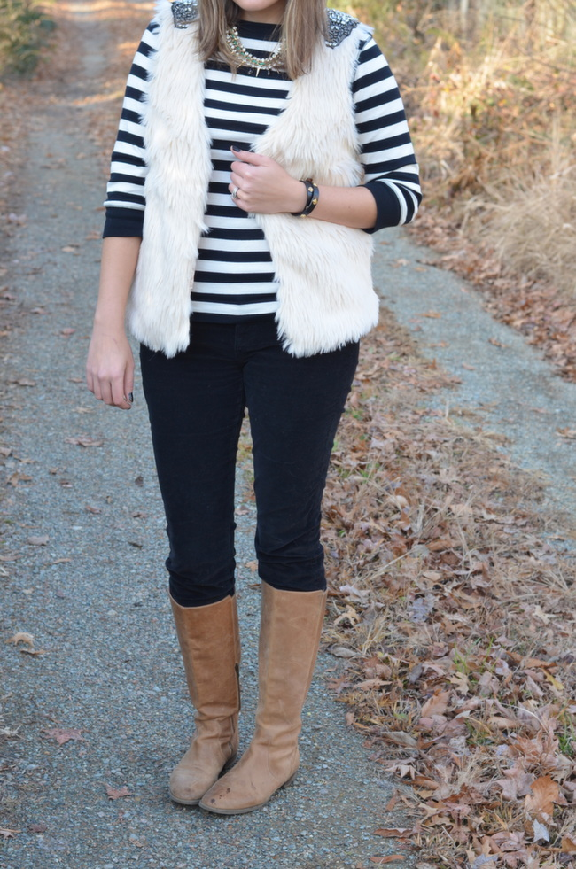 how to wear a black and white striped tee winter