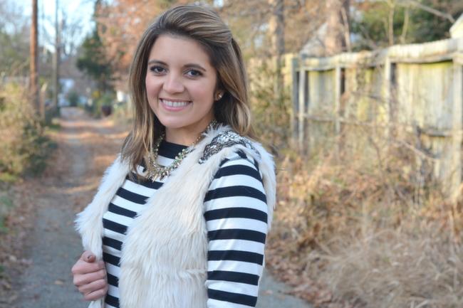 how wear off white faux fur vest