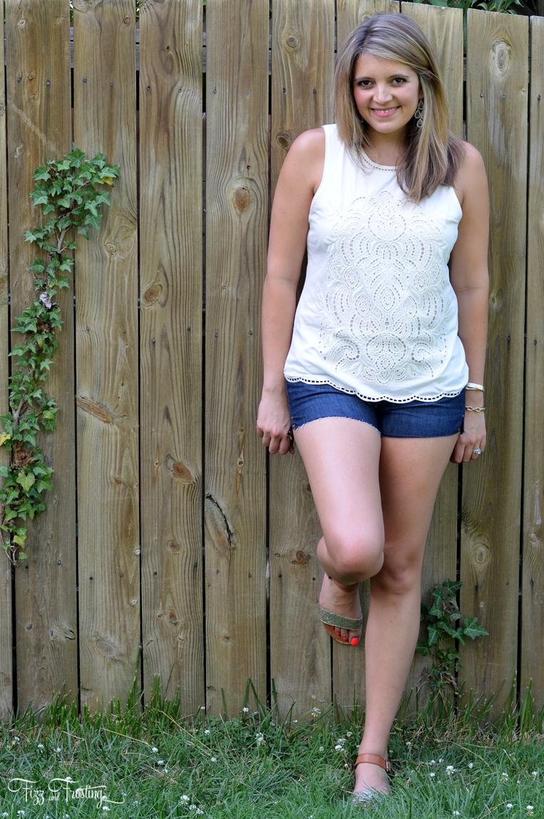 joes jeans cutoff shorts with white lace tank