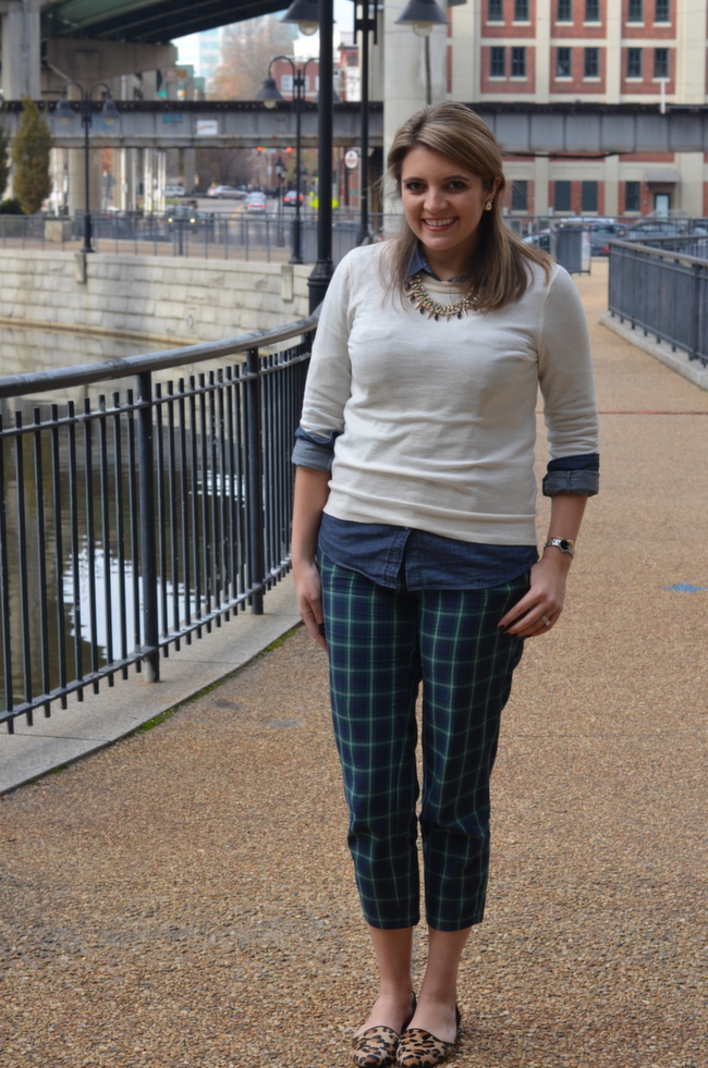 Plaid Cropped Pants with Leopard Loafers