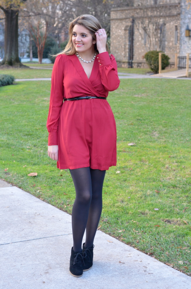 v-neck red dress christmas party