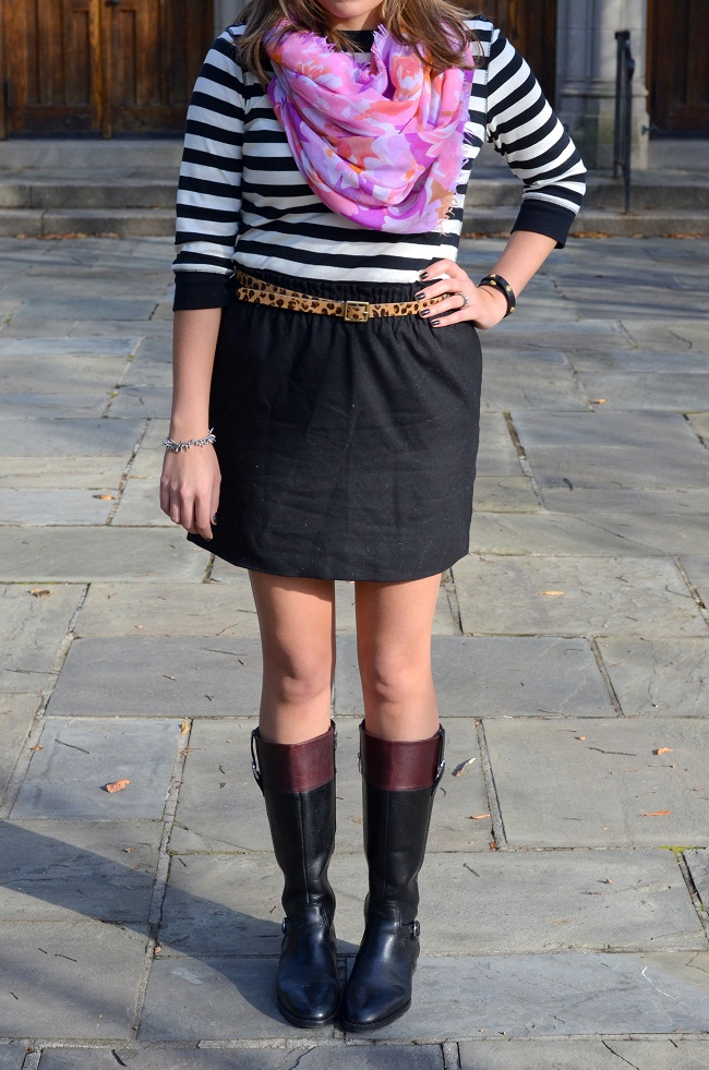 striped tshirt with leopard print belt and floral print scarf