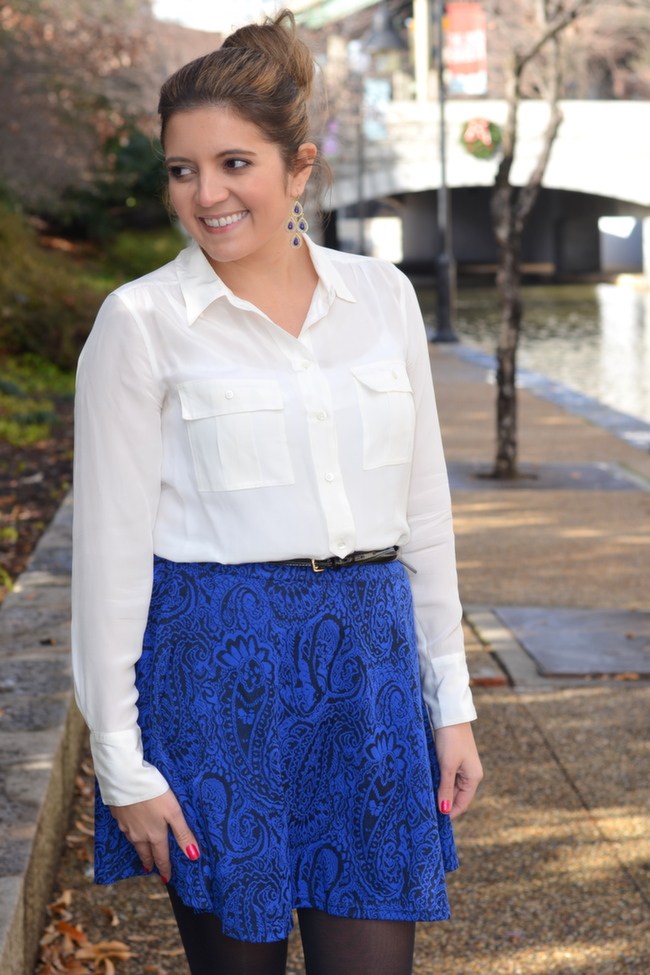 how to wear silk blouse with a skirt