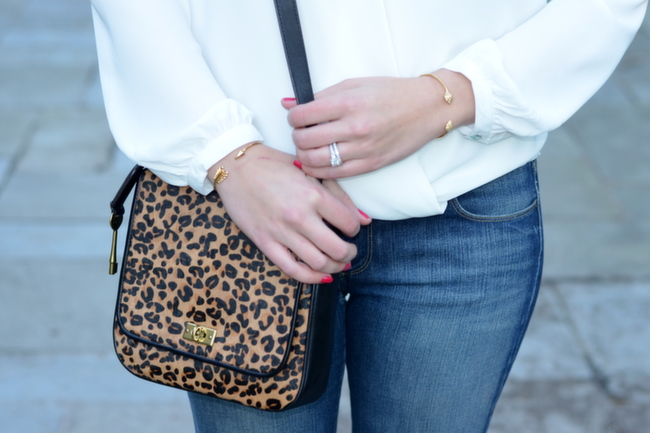 calf hair leopard print leather crossover bag
