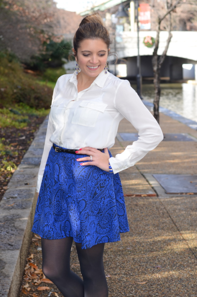 cobalt and black printed a line skirt for work