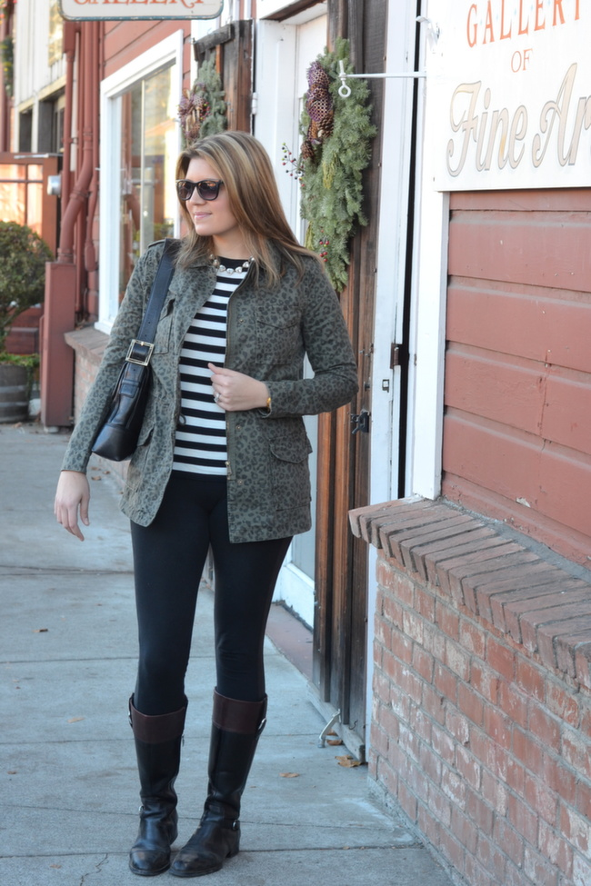 faux leather trim leggings with long military jacket