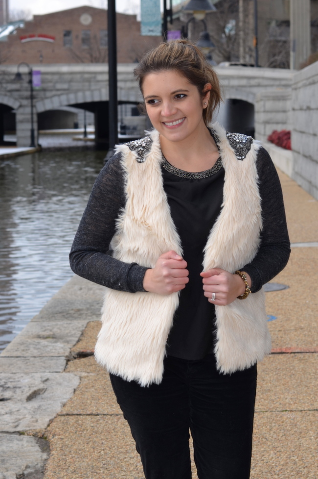 embellished cream faux fur vest