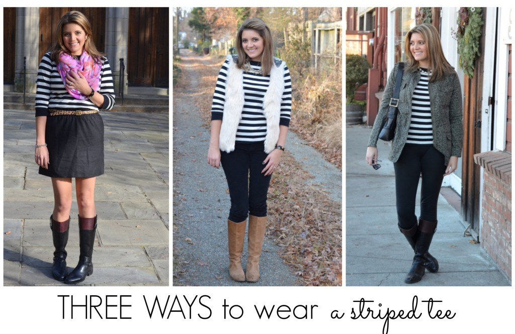 three ways style striped tshirt fall winter