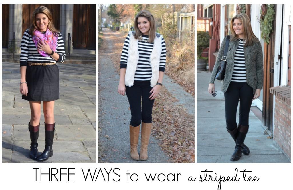 three ways style striped tshirt fall winter