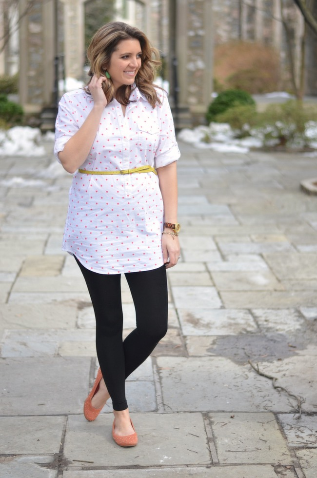 coral polka dot tunic belted maternity style