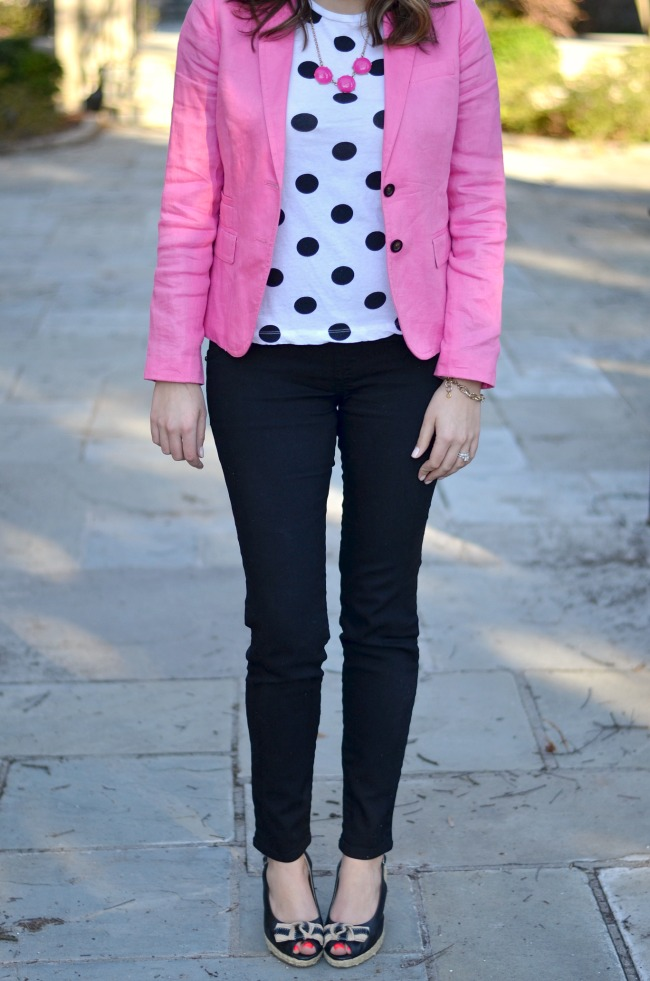 feminine polka dot and pink work wear