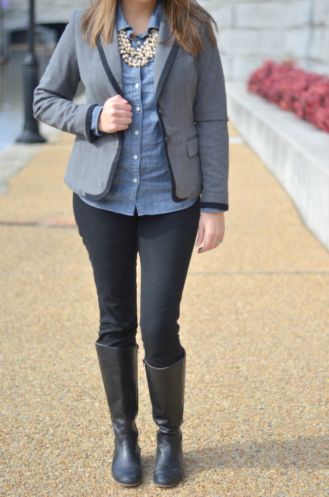 dress up chambray top for work