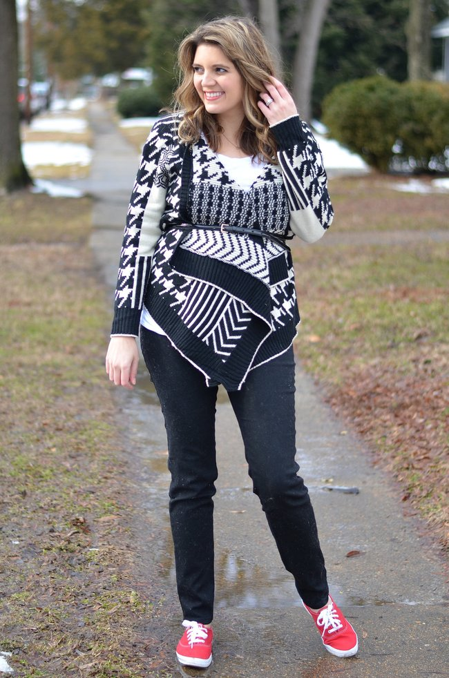 how to belt a winter cardigan
