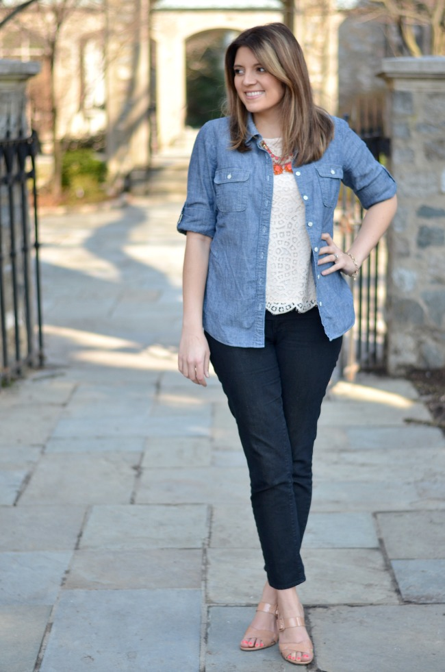 paige peg jean, jcrew lace top, jcrew chambray