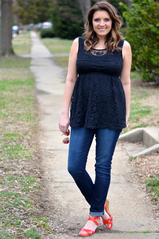 ... how wear maternity skinny jeans - Denim And Lace For Spring By Lauren M
